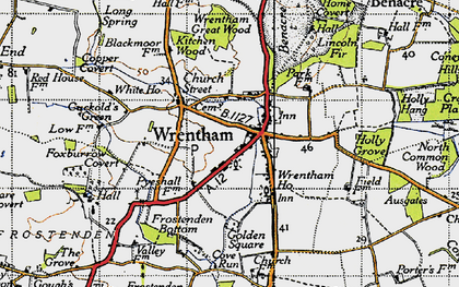 Old map of Wrentham Great Wood in 1946