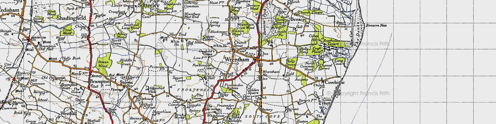 Old map of Wrentham in 1946