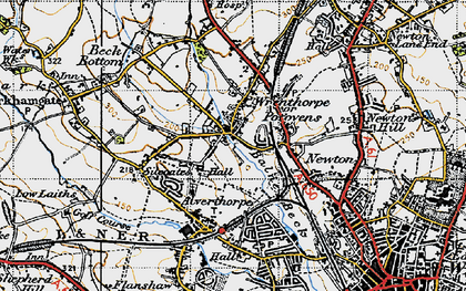 Old map of Balne Beck in 1947