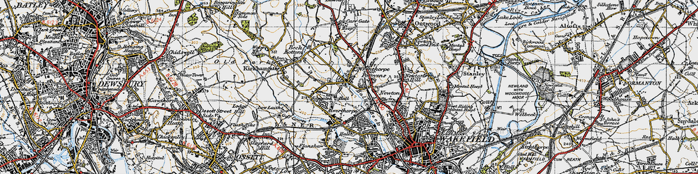 Old map of Wrenthorpe in 1947