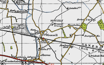 Old map of Wressle Grange in 1947