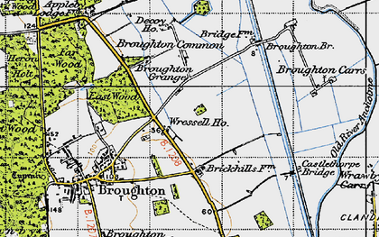 Old map of Wressle in 1947