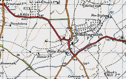 Old map of Wrestlingworth in 1946