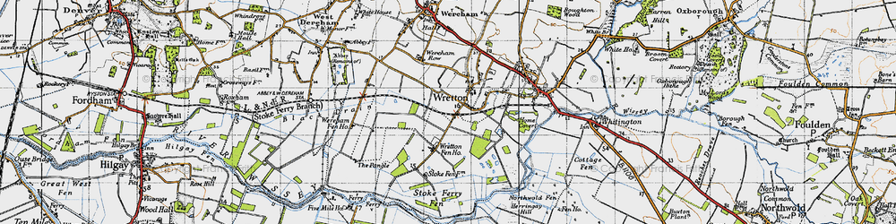 Old map of Wretton Fen Ho in 1946