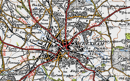 Old map of Wrexham in 1947
