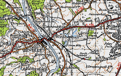 Old map of Wribbenhall in 1947