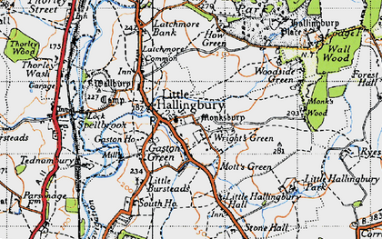 Old map of Wright's Green in 1946