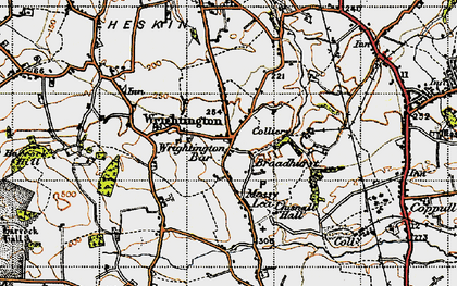Old map of Wrightington Bar in 1947
