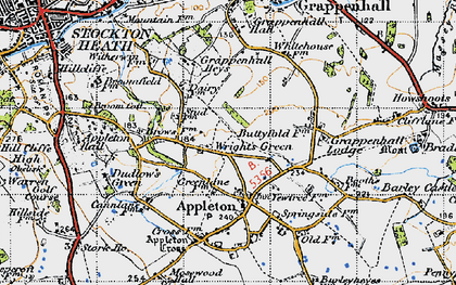 Old map of Wrights Green in 1947