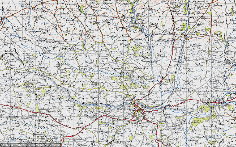Old Map of Historic Map covering Leat in 1946