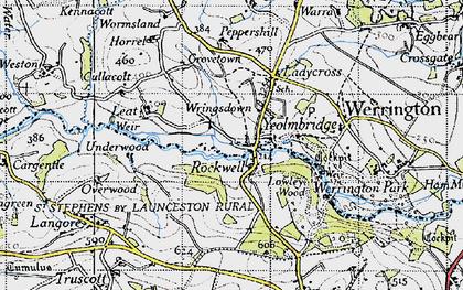 Old map of Wringsdown in 1946