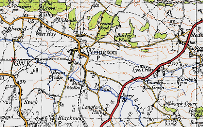 Old map of Wrington in 1946