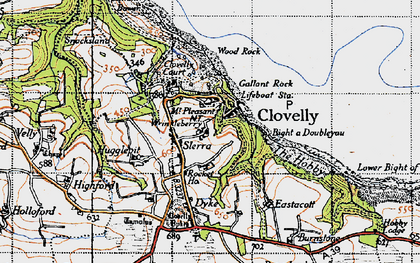 Old map of Wrinkleberry in 1946