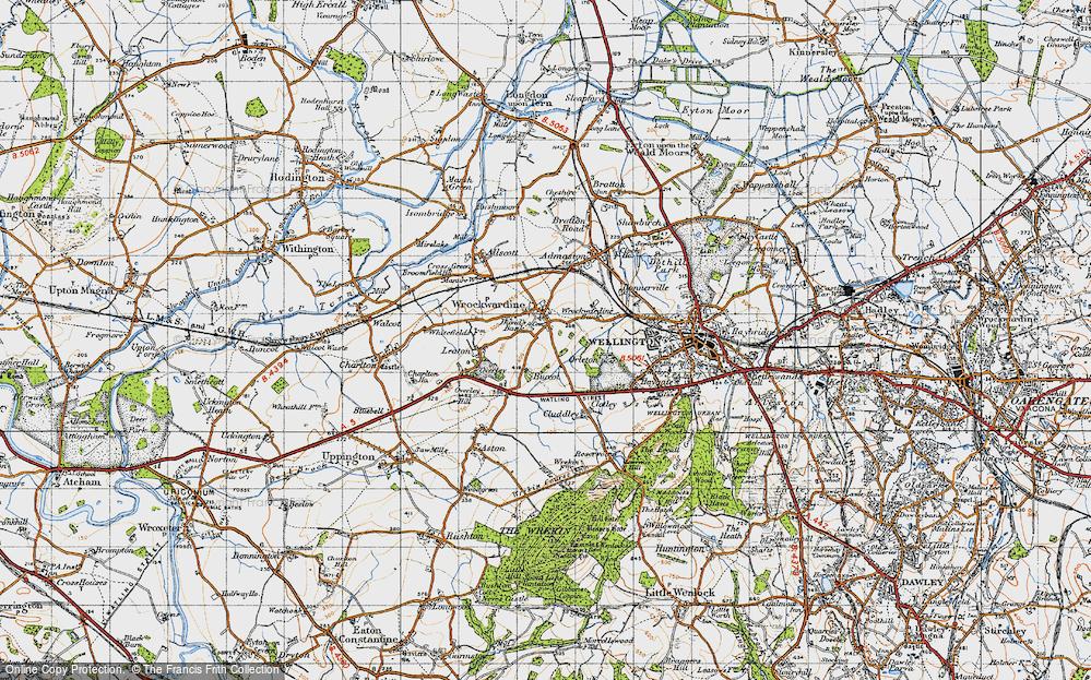 Old Map of Wrockwardine, 1947 in 1947