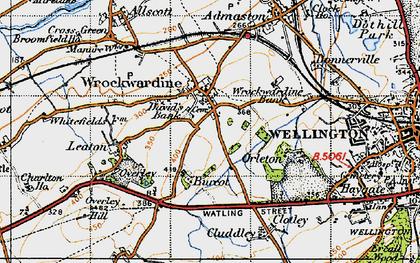 Old map of Wrockwardine in 1947