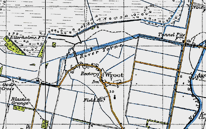 Old map of Wroot in 1947