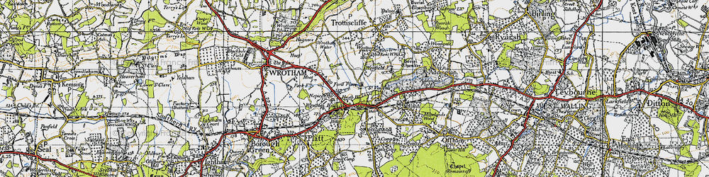 Old map of Wrotham Water in 1946