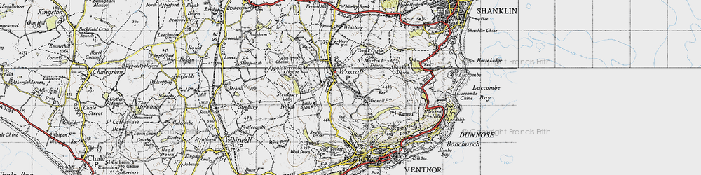 Old map of Wroxall in 1945