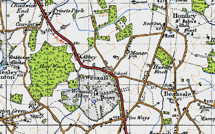 Old map of Wroxhall Abbey (sch) in 1947