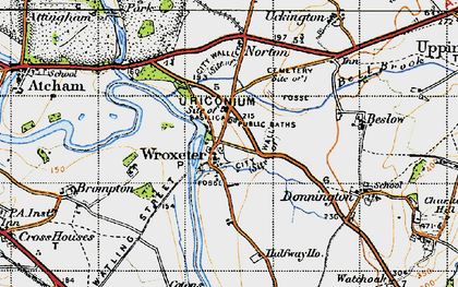 Old map of Wroxeter Roman City in 1947