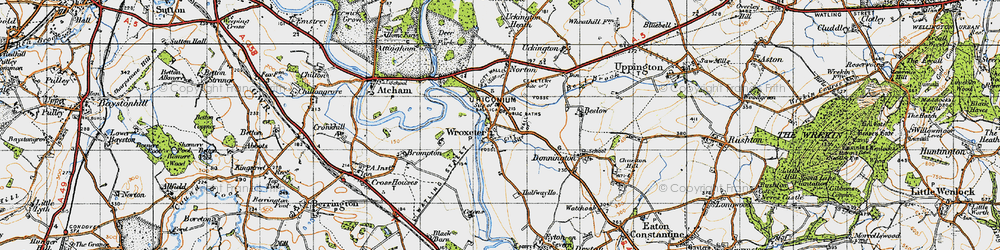 Old map of Wroxeter in 1947