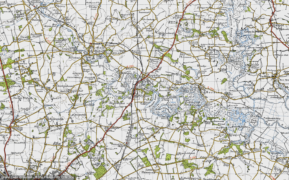Old Map of Wroxham, 1945 in 1945