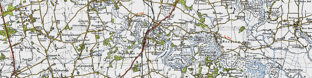 Old map of Wroxham in 1945