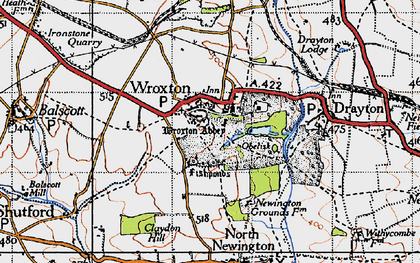 Old map of Wroxton Abbey in 1946