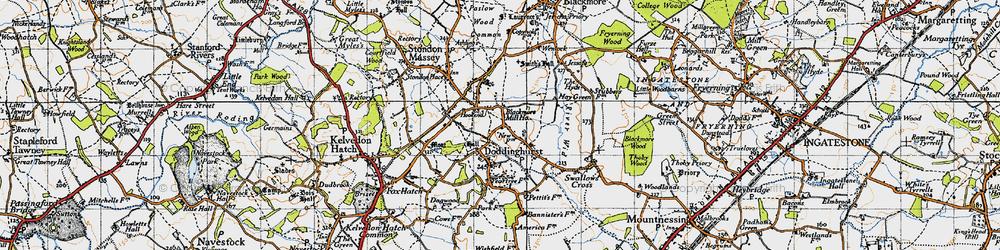 Old map of Wyatt's Green in 1946