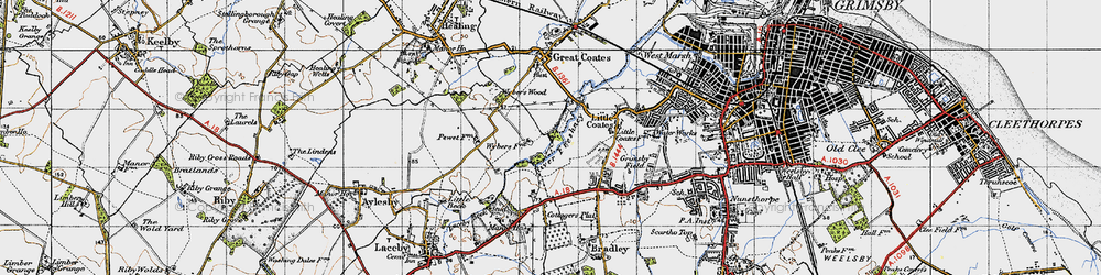 Old map of Wybers Wood in 1946