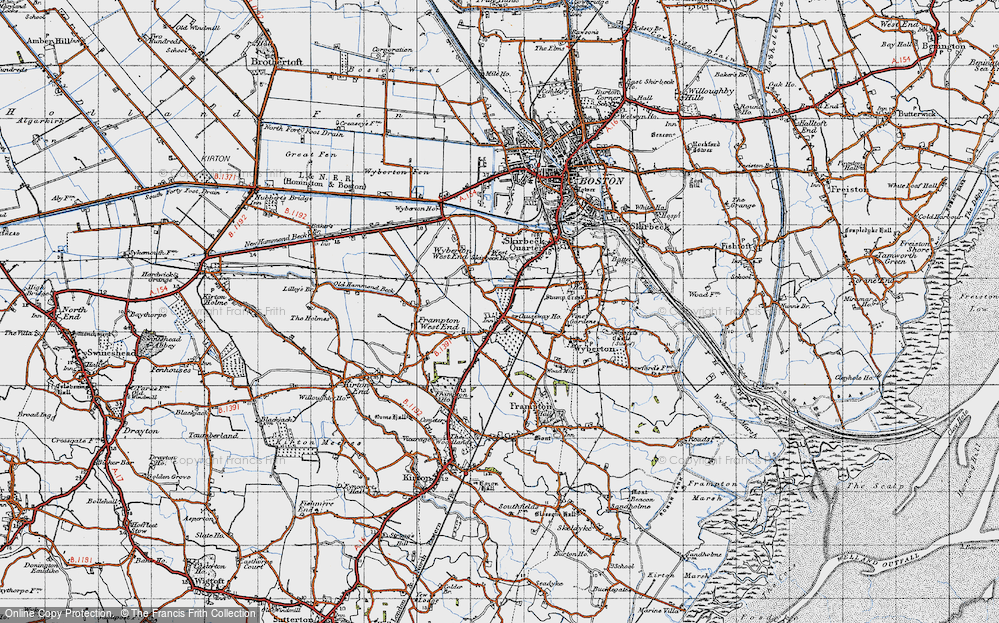 Old Map of Wyberton, 1946 in 1946