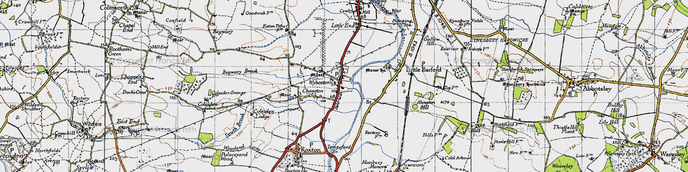 Old map of Wyboston in 1946