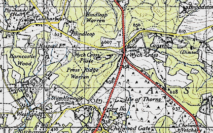 Old map of Wych Cross Place in 1940