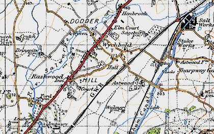 Old map of Wychbold in 1947