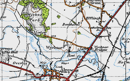 Old map of Wychnor in 1946