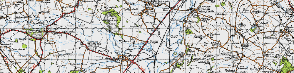 Old map of Wychnor Bridges in 1946