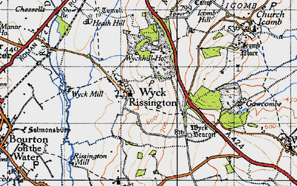 Old map of Wyck Rissington in 1946