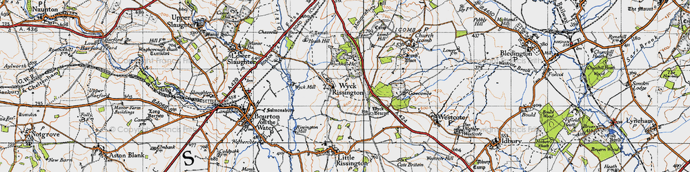Old map of Wyck Hill in 1946