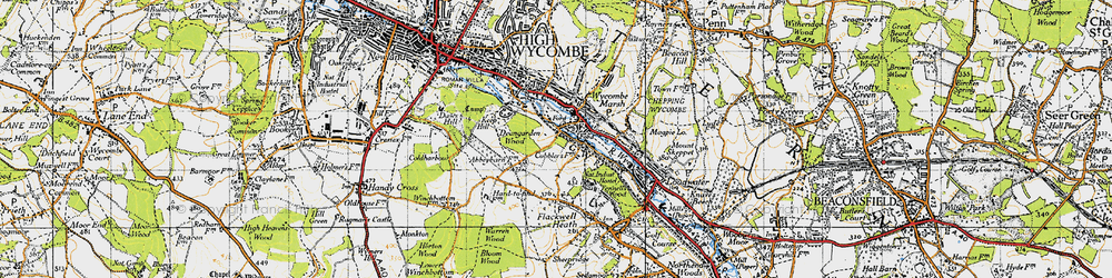 Old map of Wycombe Marsh in 1947