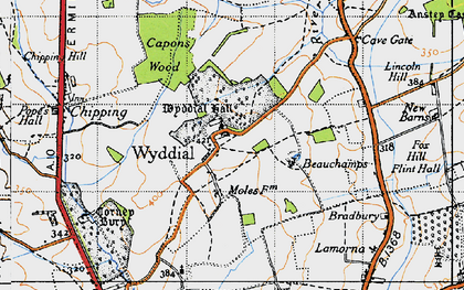 Old map of Wyddial Hall in 1946