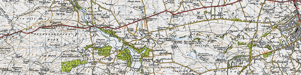 Old map of Worstall Craggs in 1947