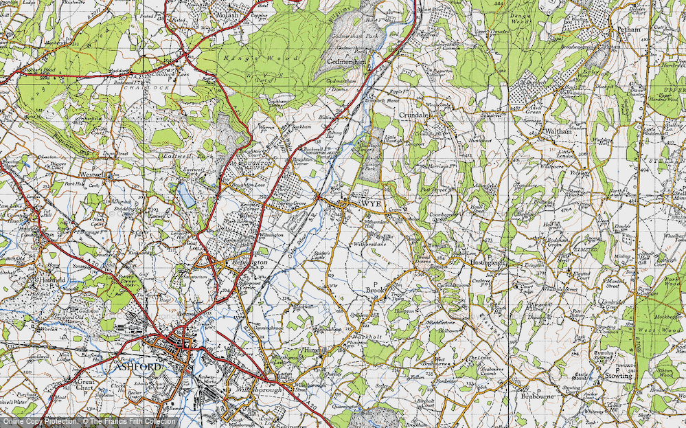 Old Map of Wye, 1940 in 1940