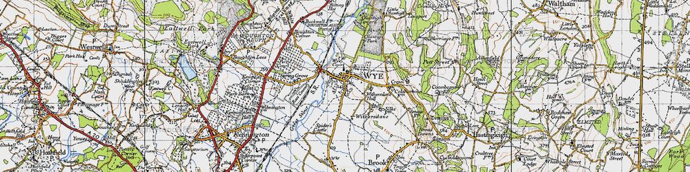 Old map of Wye in 1940