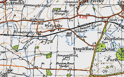 Old map of Wyfordby in 1946