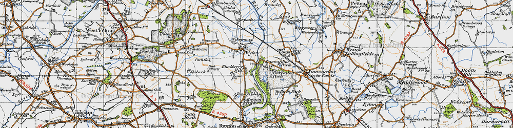 Old map of Wykey in 1947