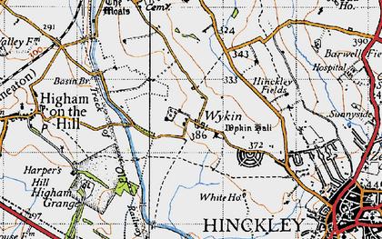 Old map of Wykin Fields in 1946