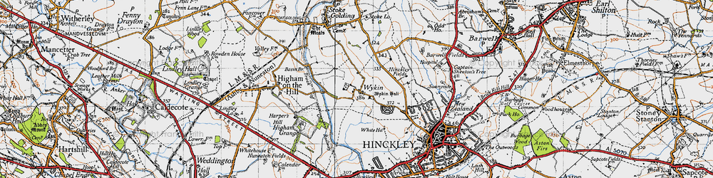 Old map of Wykin in 1946
