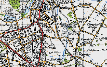 Old map of Wylde Green in 1946