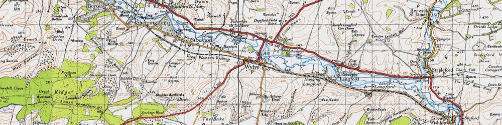 Old map of Wylye in 1940