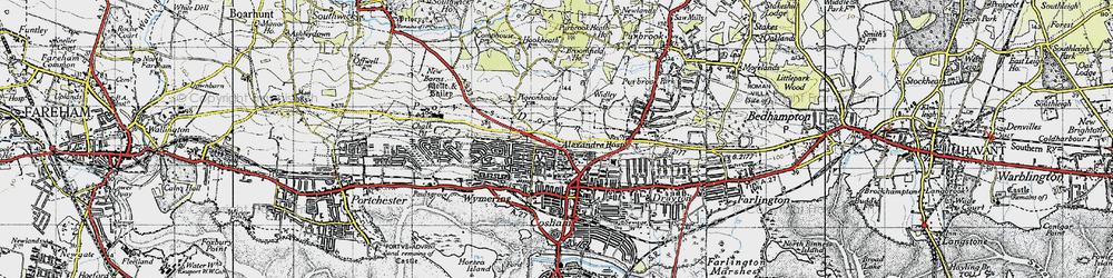 Old map of Wymering in 1945